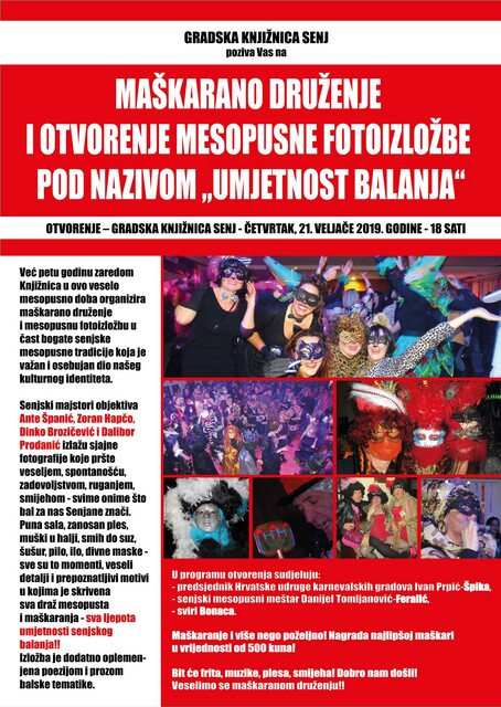 "MAŠKARANO DRUŽENJE I OTVORENJE MESOPUSNE FOTOIZLOŽBE POD NAZIVOM  ""UMJETNOST BALANJA""-21.2.2019."