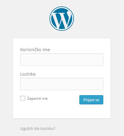 Autentifikacijska forma - Kako se prijaviti u administratorsko sučelje u WordPress-u
