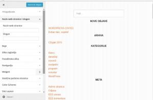 PrintScreen okvira za prilagodbu teme