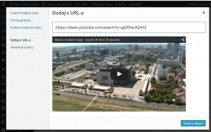 Prikaz okvira za dodavanje medijskih sadržaja s URL-a