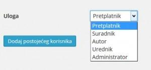 Prikaz okvira za određivanje uloga korisnicima