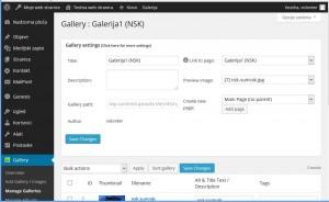 NextGEN Gallery zaslon za uređivanje galerije